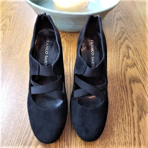 Franco Sarto Black Suede Cross Strap Heels